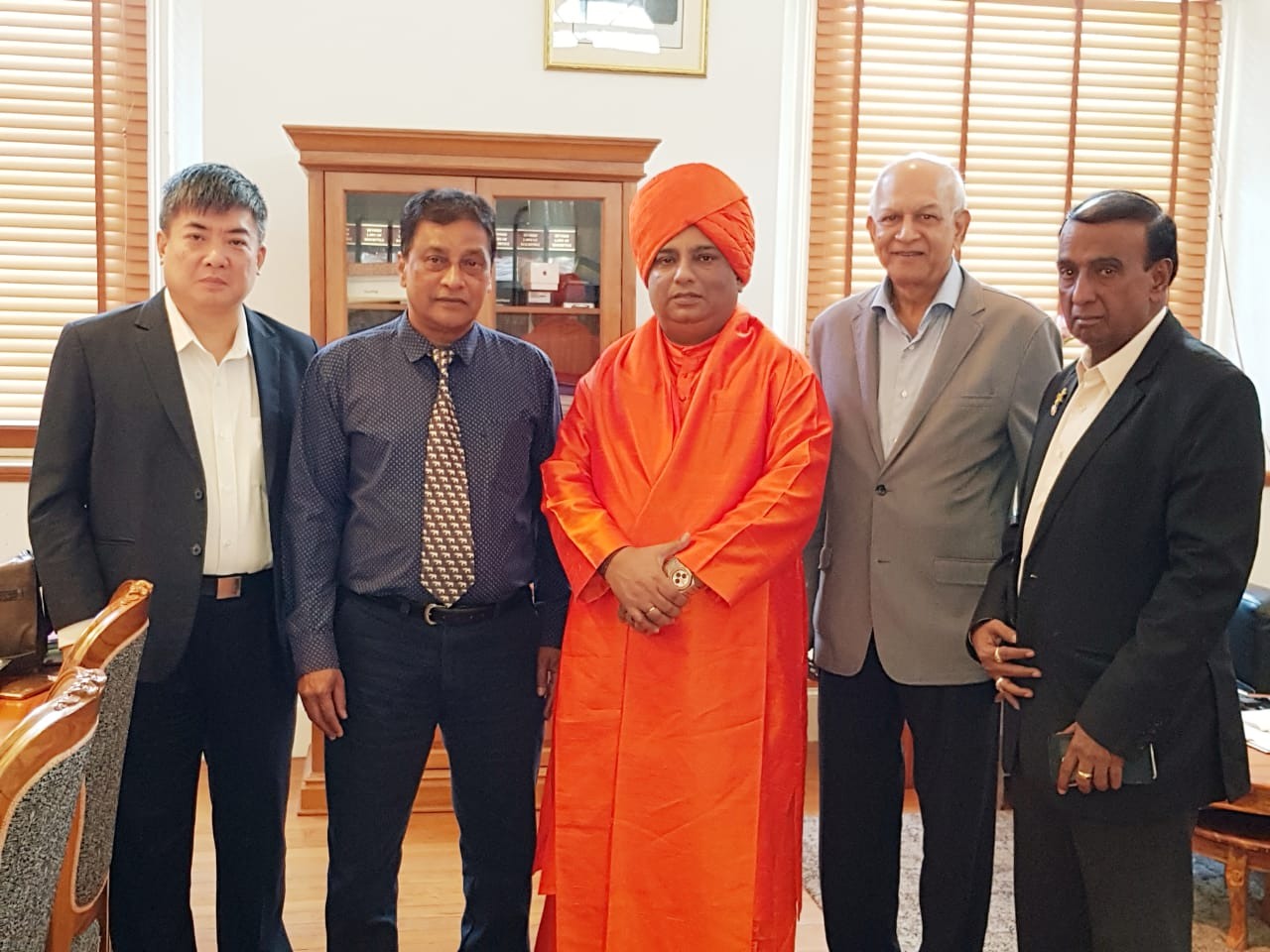 Jeevanacharya with Ministers in Mauritius Parliament